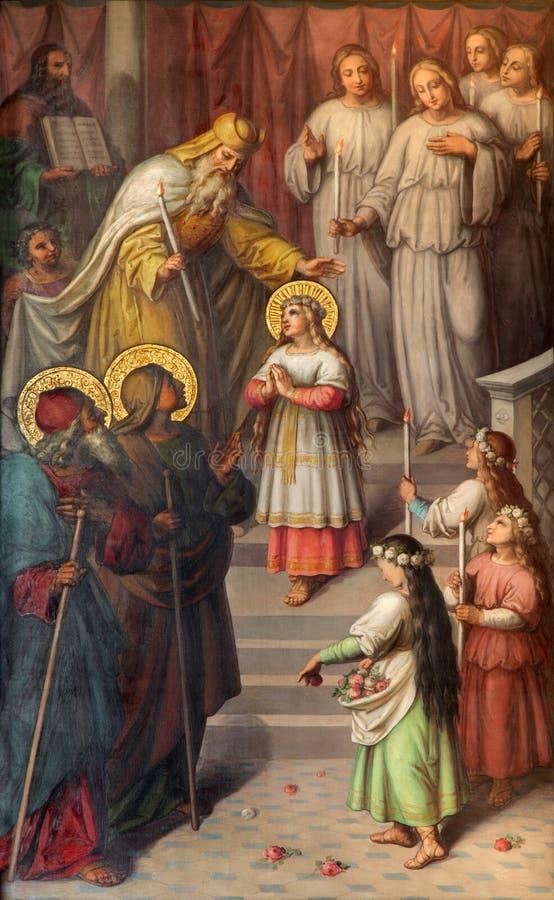 Viena - la presentación de la Virgen María en el templo Pintura a partir del 20 centavo en la iglesia Muttergotteskirche foto de archivo libre de regalías