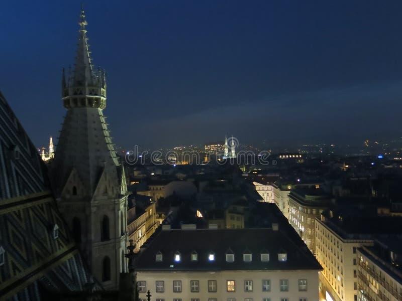 Viena na noite fotografia de stock royalty free