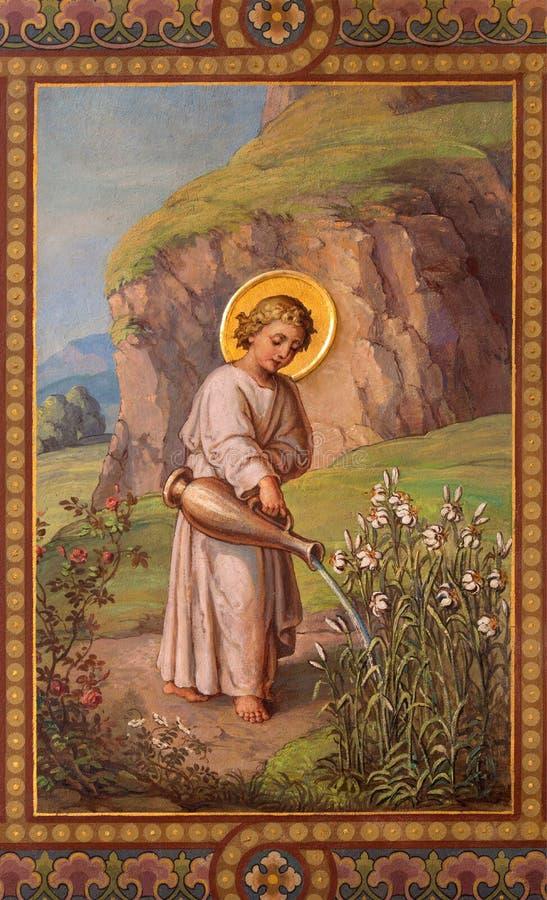 Vienan - fresk mały Jezus jako gardemer Josef Kastner 1906, 1911 w Carmelites kościół w Dobling. fotografia stock