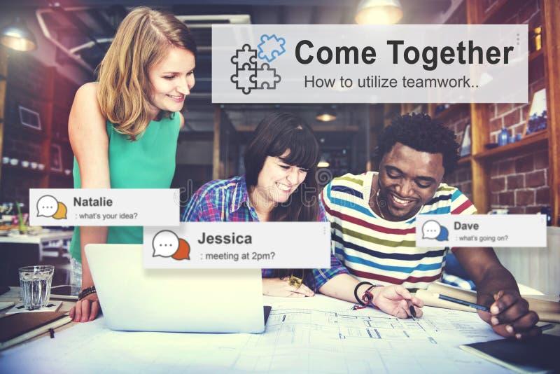 Viene insieme Team Teamwork Collaboration Concept immagine stock