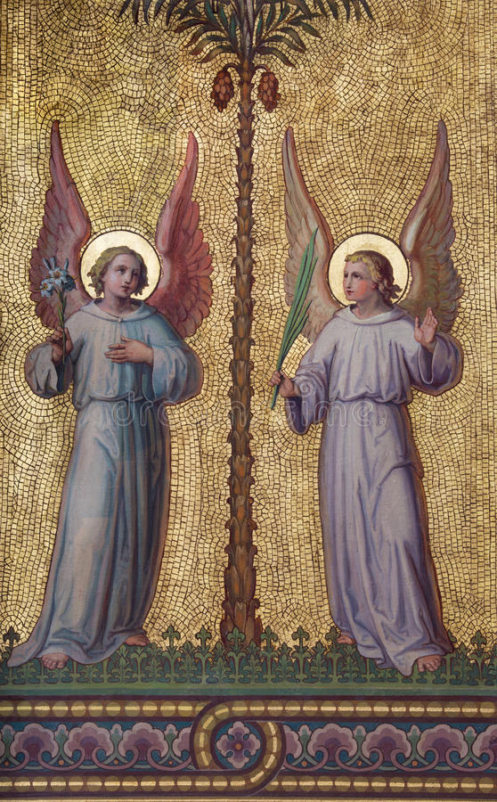 Vienna - affresco simbolico di angeli fotografie stock