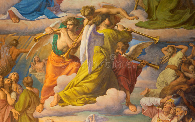 Vienna - Angels with the trumps. Detail of fresco of Last judgment scene by Leopold Kupelwieser from 1860 in nave of Altlerchenfe royalty free stock images