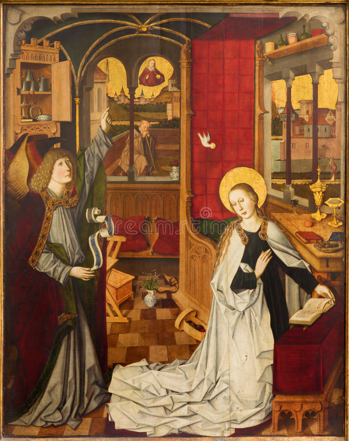 Vienna - Annunciation scene in the nave of the church dates from about 1360 royalty free stock photo