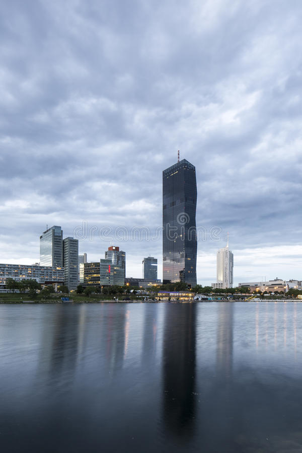 Vienna, Austria – May 30, 2016: Donau City, DC Tower. View from Danube Island on Donau City, DC Tower, Ares Tower, Andromeda Tower and Residential Park stock images