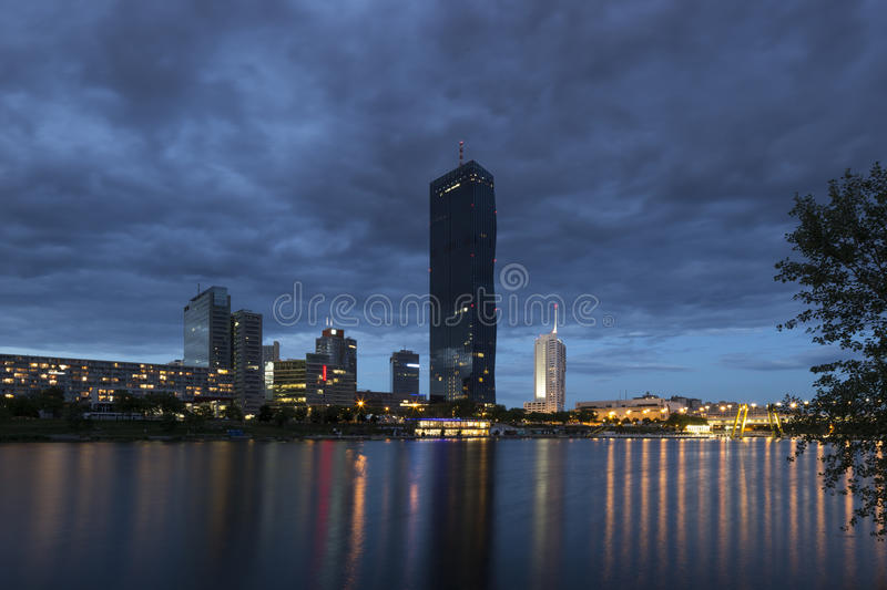 Vienna, Austria – May 30, 2016: Donau City, DC Tower. View from Danube Island on Donau City, DC Tower, Ares Tower, Andromeda Tower and Residential Park stock photo