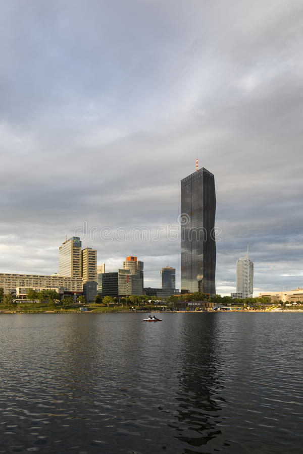 Vienna, Austria – May 30, 2016: Donau City, DC Tower. View from Danube Island on Donau City, DC Tower, Ares Tower, Andromeda Tower and Residential Park royalty free stock photography