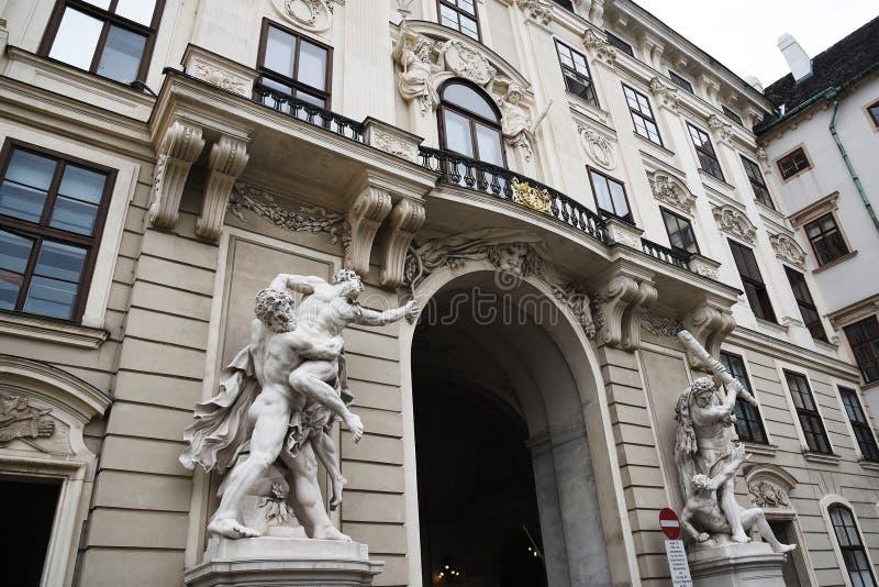 VIENNA, AUSTRIA - 29 agosto 2018: il Neue Burg, un nuovo castello del Hofburg P fotografia stock libera da diritti