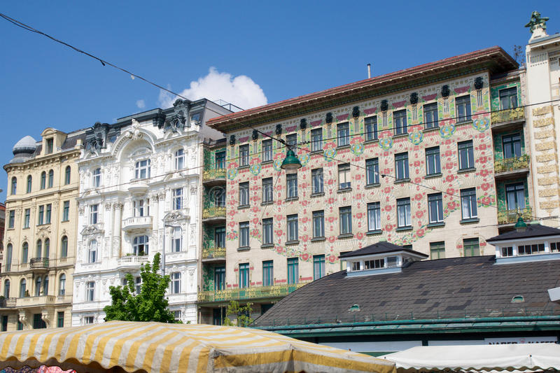 VIENNA, AUSTRIA - APR 30th, 2017: The Majolica House Majolikahaus with its floral ornamentation near Naschmarkt in royalty free stock photo