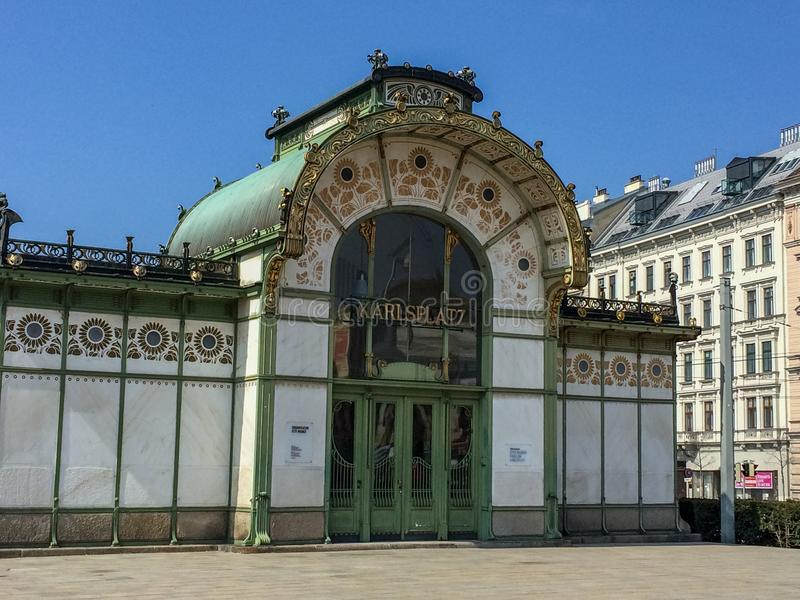 Vienna/Austria - April 9 2015: The old and famous building of th. E Karlsplatz subway or metro station in Vienna stock photo
