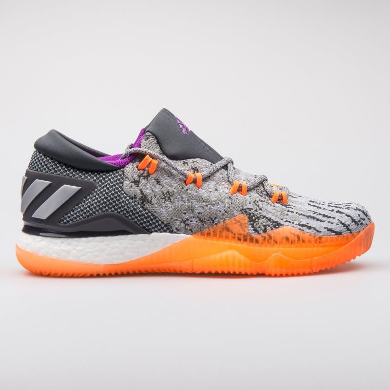 Adidas Crazylight Boost Low 2016 grey, black and orange sneaker. VIENNA, AUSTRIA - AUGUST 7, 2017: Adidas Crazylight Boost Low 2016 grey, black and orange royalty free stock images