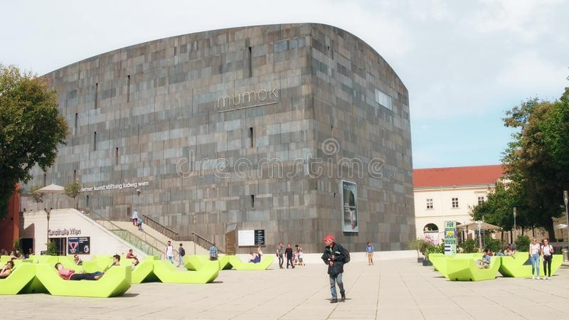 VIENNA, AUSTRIA - AUGUST 12, 2017. Famous mumok or MUseum MOderner Kunst, modern art museum stock photo