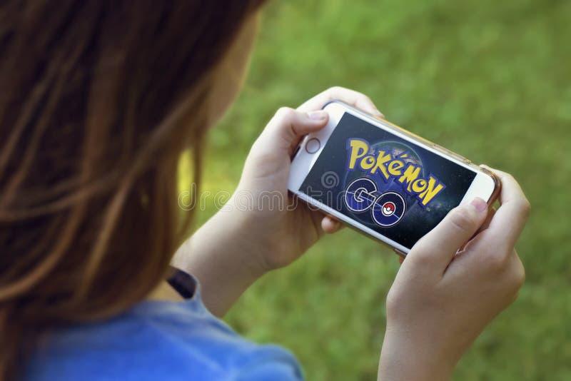 Vienna, AUSTRIA - August 1, 2016: Pokemon Go logo on the phone. royalty free stock photo