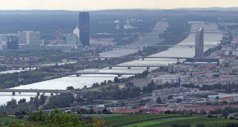Vienna, Austria - August 24, 2014: skyscraper and the Danube riv stock images