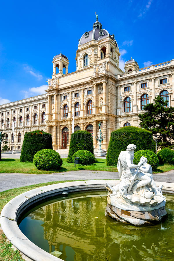 Vienna, Austria. Beautiful view of famous Kunsthistorisches (Fine Arts Museum) with park Maria-Theresien-Platz and sculpture in royalty free stock photo