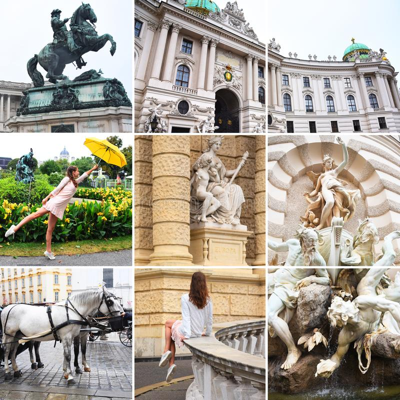 Vienna, Austria collage Teatro Burgtheater, Austria, Neue Burg, un nuovo castello del palazzo di Hofburg, museo dello stato di Vi immagini stock