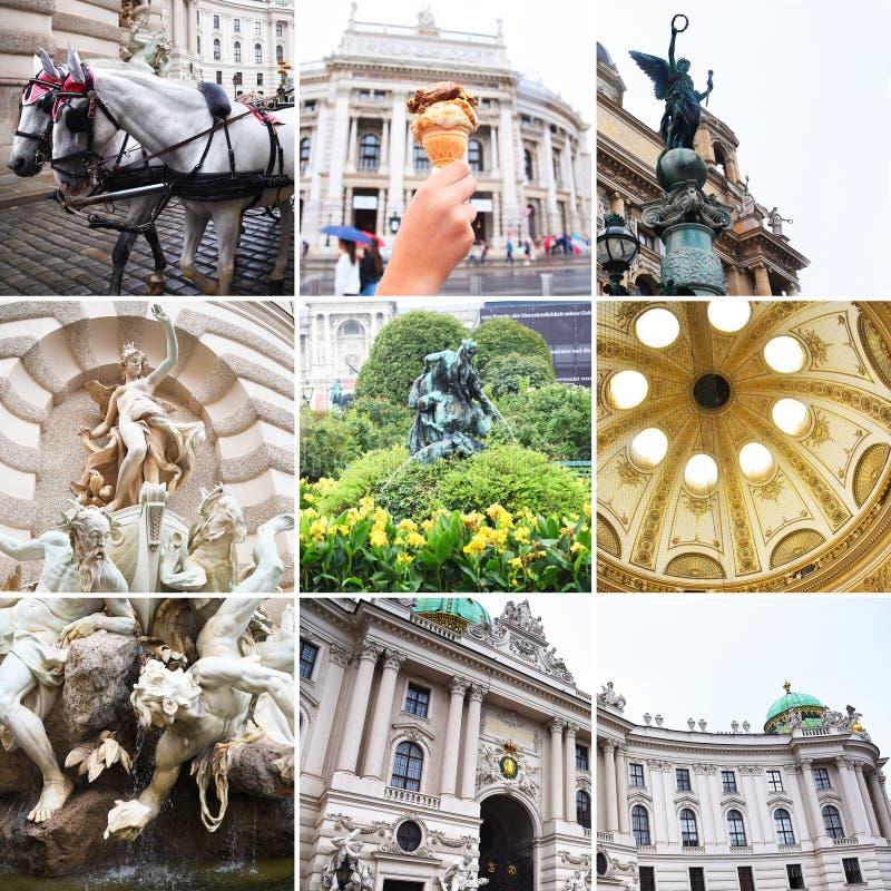 Vienna, Austria collage Teatro Burgtheater, Austria, Neue Burg, un nuovo castello del palazzo di Hofburg, museo dello stato di Vi fotografia stock