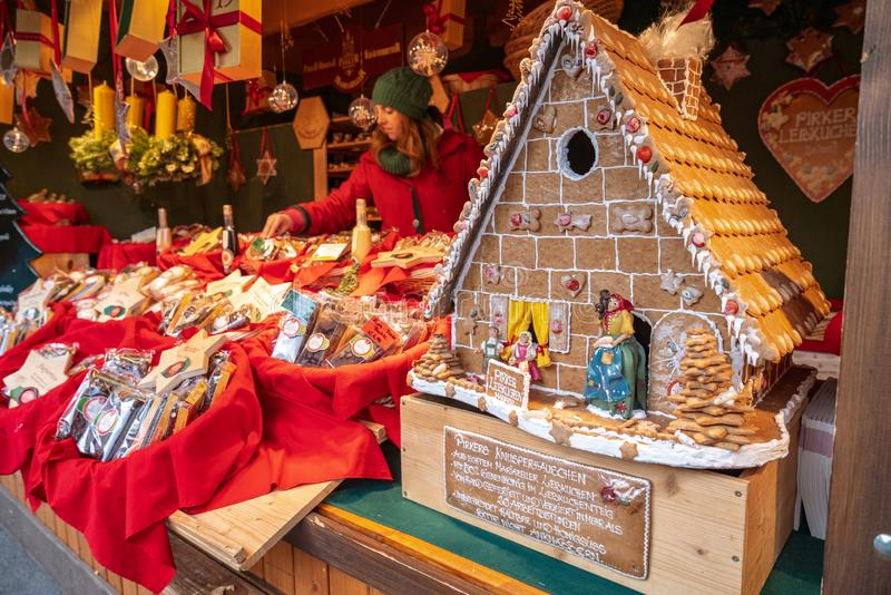Vienna, Austria - December 2017: ginger bread house in a traditional christmas market shop in central Vienna royalty free stock image