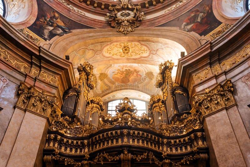 Organ of Saint Peter`s Church Peterskirche stock image