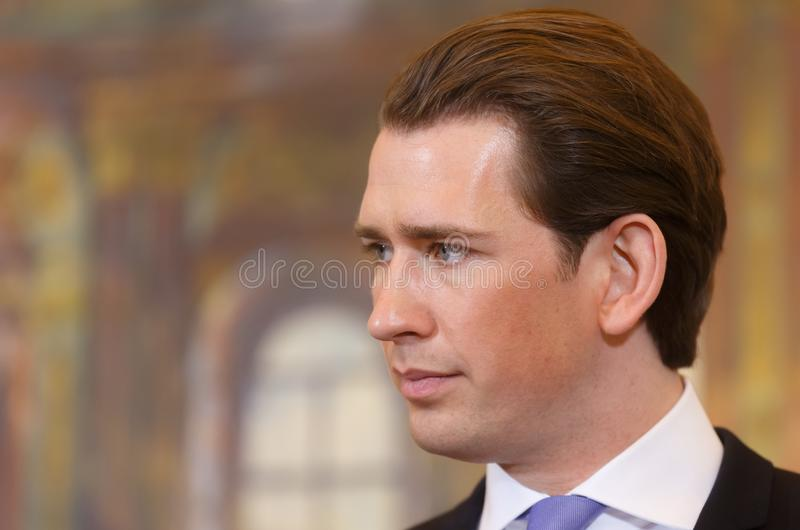 Federal Chancellor of the Republic of Austria Sebastian Kurz. VIENNA, AUSTRIA - Feb 08: Federal Chancellor of the Republic of Austria Sebastian Kurz during a royalty free stock photo