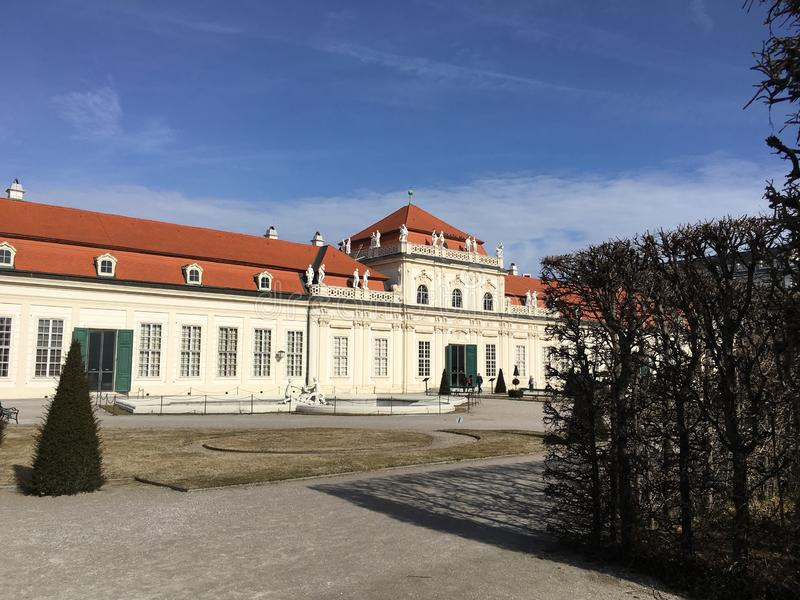 VIENNA, AUSTRIA - FEBRUARY 18, 2019: The beautiful Lower Belvedere Palace is a fine example of former Vienna Baroque royalty free stock photo