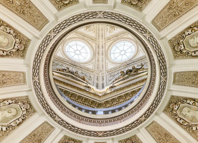 Vienna, AUSTRIA - FEBRUARY 17, 2015 - Ceiling of the Natural History Museum in Vienna. stock image