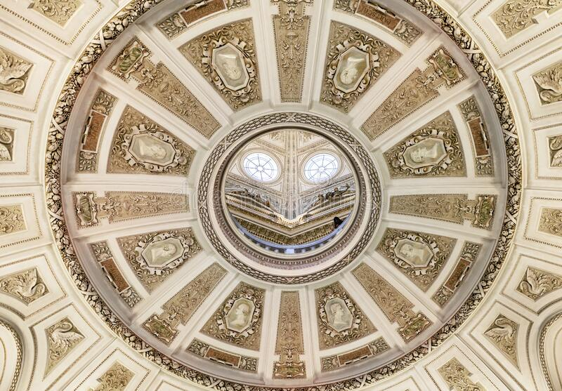 Vienna, AUSTRIA - FEBRUARY 17, 2015 - Ceiling of the Natural History Museum in Vienna. royalty free stock images