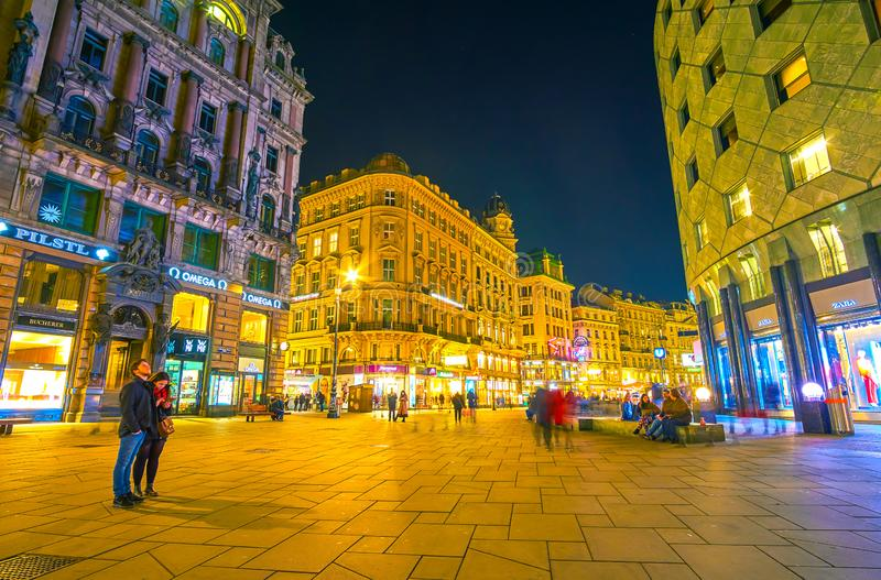 The popular tourist street in old Vienna, Austria stock images
