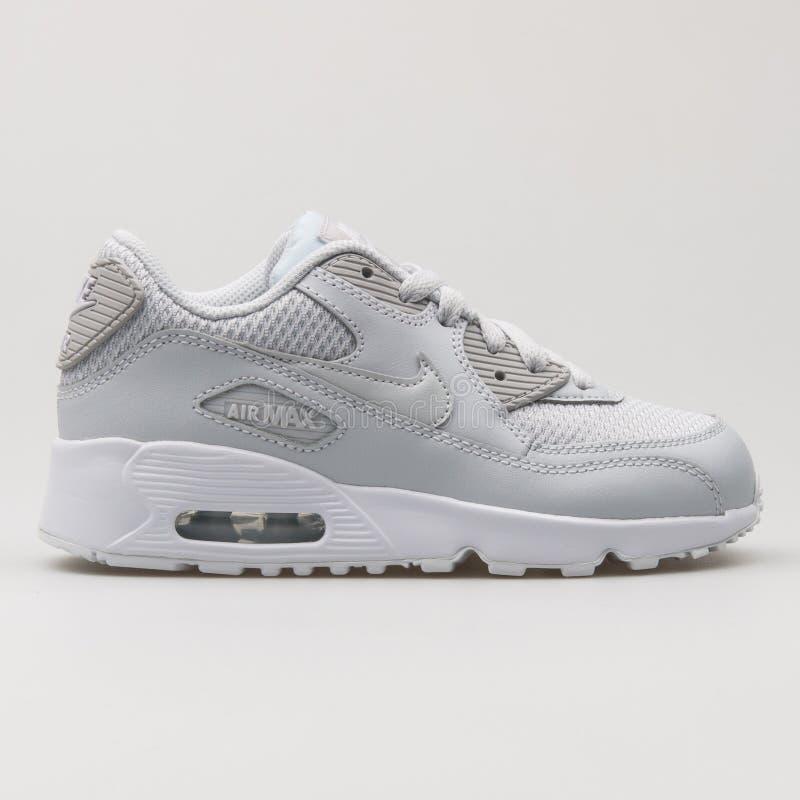 Nike Air Max 90 Mesh Platinum And White Sneaker Editorial Image ...