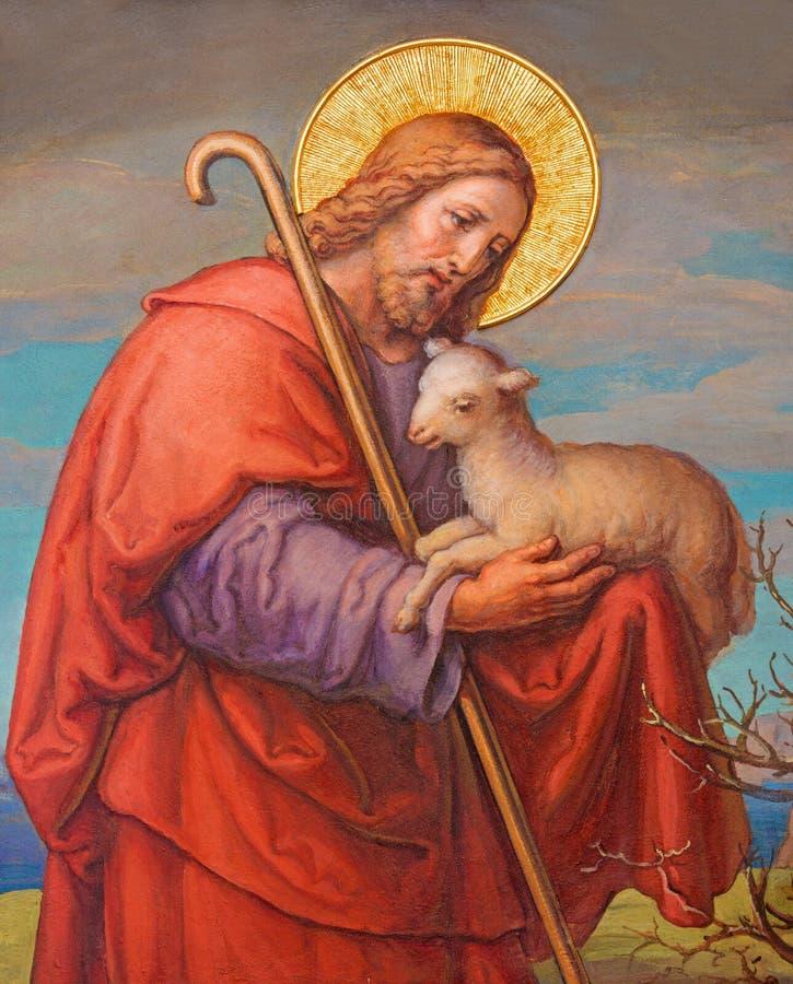 VIENNA, AUSTRIA: Fresco of Jesus as good shepherd by Josef Kastner 1906 - 1911 in Carmelites church in Dobling. VIENNA, AUSTRIA - FEBRUARY 17, 2014: Fresco of stock image