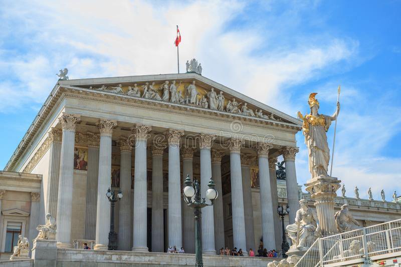 Beautiful view of Austrian parliament building with famous Pallas Athena fountain in Vienna, Austria stock photos