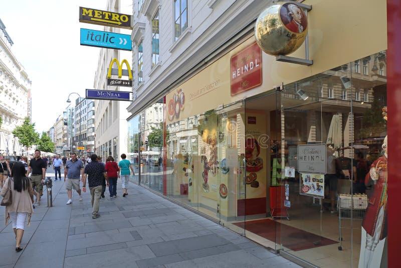 Hendl Shop Vienna. VIENNA, AUSTRIA - JULY 12, 2015: Famous Heindl Chocolate Confectionery Shop in Vienna, Austria royalty free stock photos
