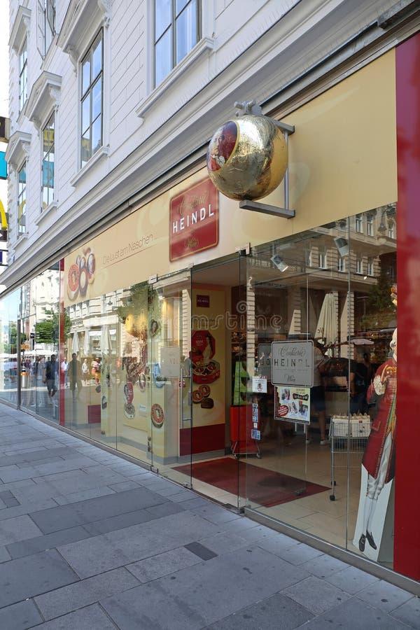 Hendl Chocolate Shop. VIENNA, AUSTRIA - JULY 12, 2015: Famous Heindl Chocolate Confectionery Shop in Vienna, Austria stock image