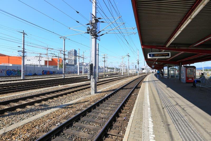 Train station Wien Matzleinsdorfer Platz in the borough of Favoriten, Vienna, Austria. VIENNA, AUSTRIA - JULY 16, 2017. Train station Wien Matzleinsdorfer Platz stock photos