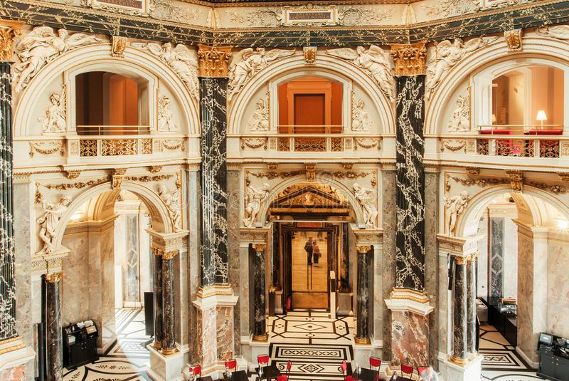 Great interior design of historical Kunsthistorisches Museum with columns and marble balconies stock photos