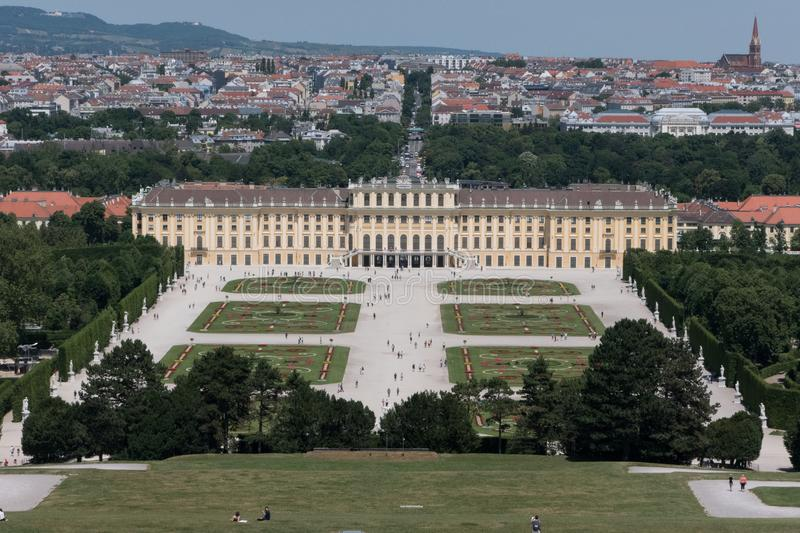 Schonbrunn Palace Elevated View in Vienna, Austria royalty free stock photo