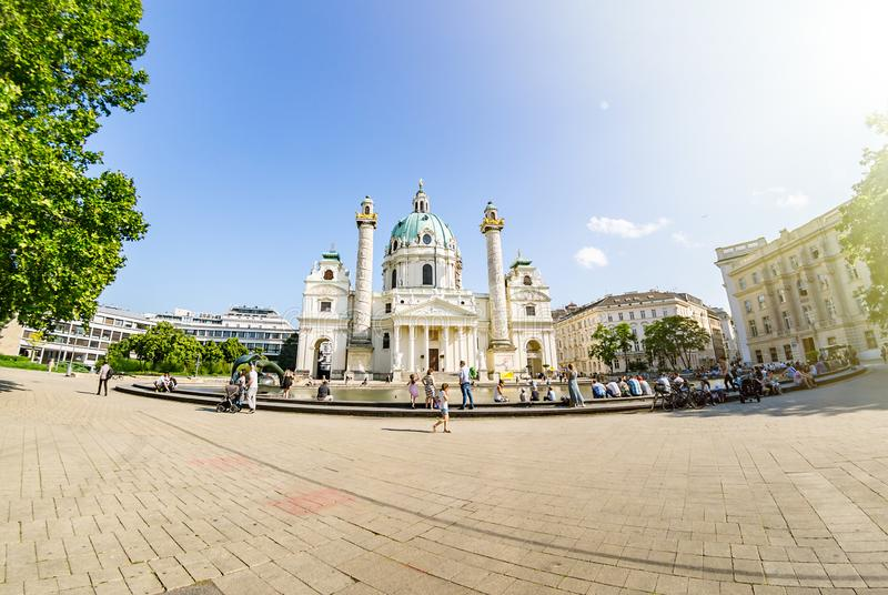 Vienna, Austria - June 7 2019: St. Charles Church Karlskirche, is a baroque church located on the south side of Karlsplatz in royalty free stock photo