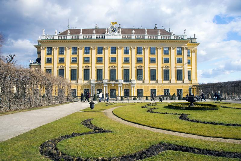 Vienna, Austria, March 2018. Schonbrunn Palace, the imperial summer residence of the Habsburg monarchs in early spring in Vienna. stock image