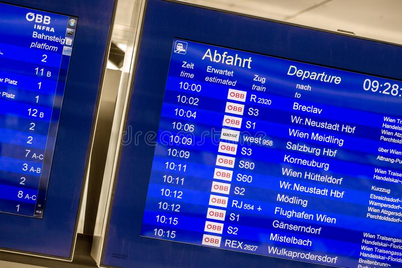 VIENNA, AUSTRIA - MAY 27: The digital information displays departs or arrives on main railway station of Vienna Wien stock photography