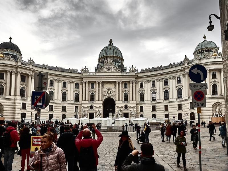 View of the Hofburg palace in Vienna city center stock image