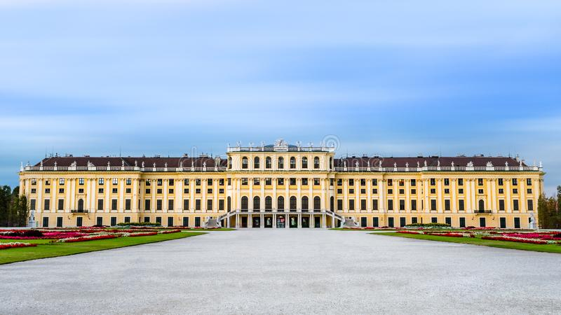 VIENNA, AUSTRIA, OCT 2017: A long exposure photograph documents the UNESCO heritage site of Schönbrunn Palace, Vienna, Austria. Without any people in view royalty free stock photography