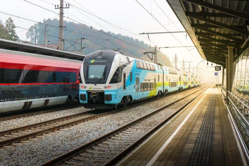 Vienna, Austria - Oct 21, 2018: standard-gauge rack railway connecting, Austria. Standard-gauge rack railway connecting, Austria royalty free stock photo