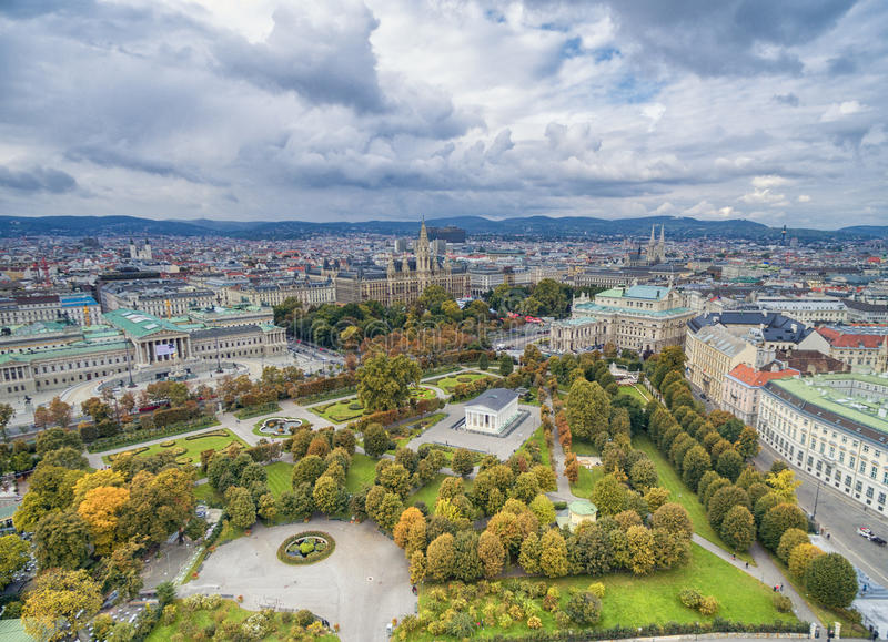 VIENNA, AUSTRIA - OCTOBER 10, 2016: Austrian Parliament Building, Rathaus, Park, Burgtheater, Imperial Court Theatre. Vienna most royalty free stock photo