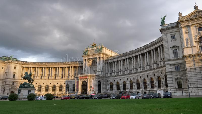 VIENNA, AUSTRIA, OCTOBER, 9, 2017 close shot of hofburg palace in vienna stock images
