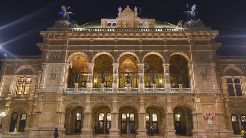 VIENNA, AUSTRIA-OCTOBER, 8, 2017: close up night shot of the state opera house in vienna stock photo