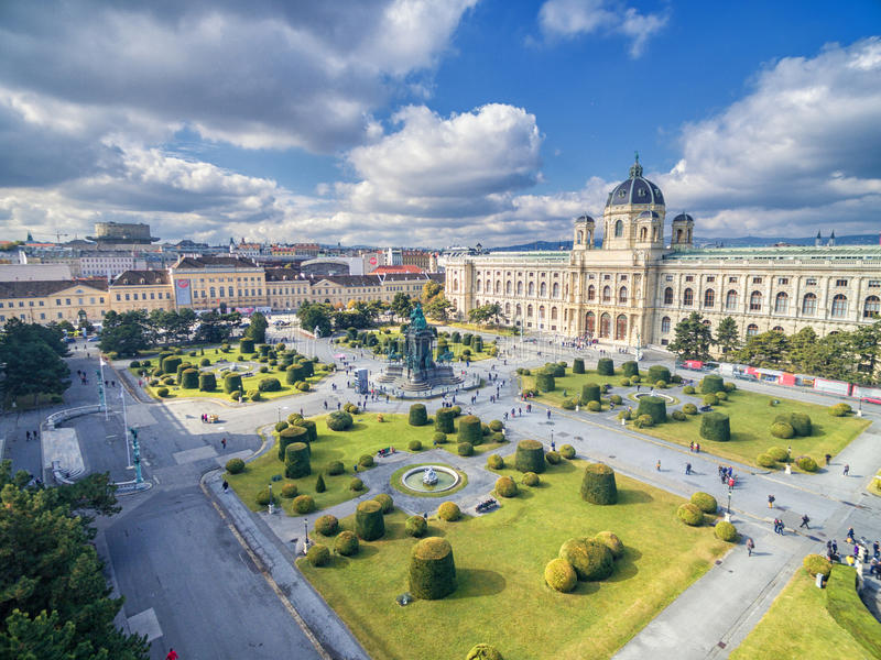 VIENNA, AUSTRIA - OCTOBER 07, 2016: Museum of Natural History and Maria Theresien Platz. Large public square in Vienna, Austria stock images