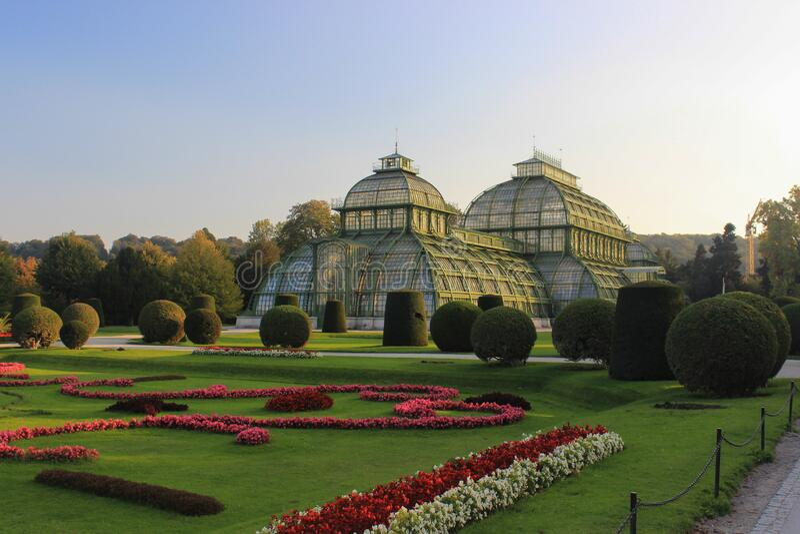 Vienna, Austria - October 12, 2015: Palmenhaus near of the Schonbrunn Palace in Vienna, Austria.  stock images