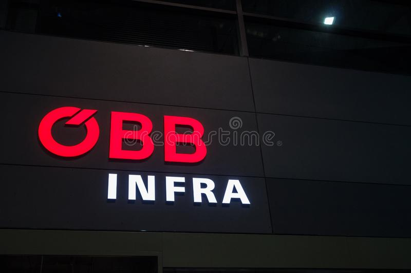OBB Infra logo on their office in Vienna Main Station. Called OBB Infrstruktur, it`s the Austrian Railway Infrastructure Manager stock photography