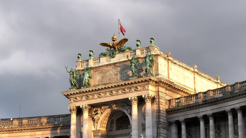 VIENNA, AUSTRIA, OCTOBER, 9, 2017 sunset close up of the front of hofburg palace in vienna royalty free stock image