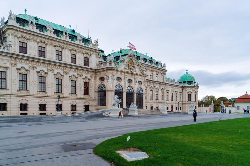 Upper Belvedere palace 1717-1723, Vienna, Austria. Vienna, Austria - October 22, 2017: Upper Belvedere baroque palace 1717-1723 royalty free stock photos