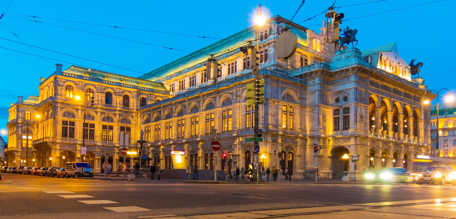 Vienna. austria. opera. The opera in vienna, austria. evening reception at dusk royalty free stock image